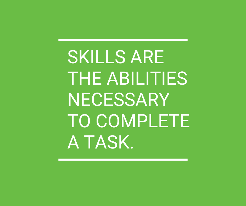 Skills are the abilities necessary to complete a task, and a combination (or lack of) skills can make or break an employees success in a position.