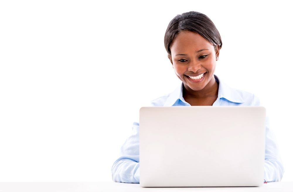 small business woman researching workforce management software solutions