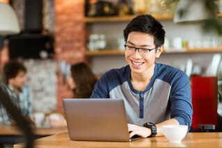 Male increasing his learning potential through elearning courses.