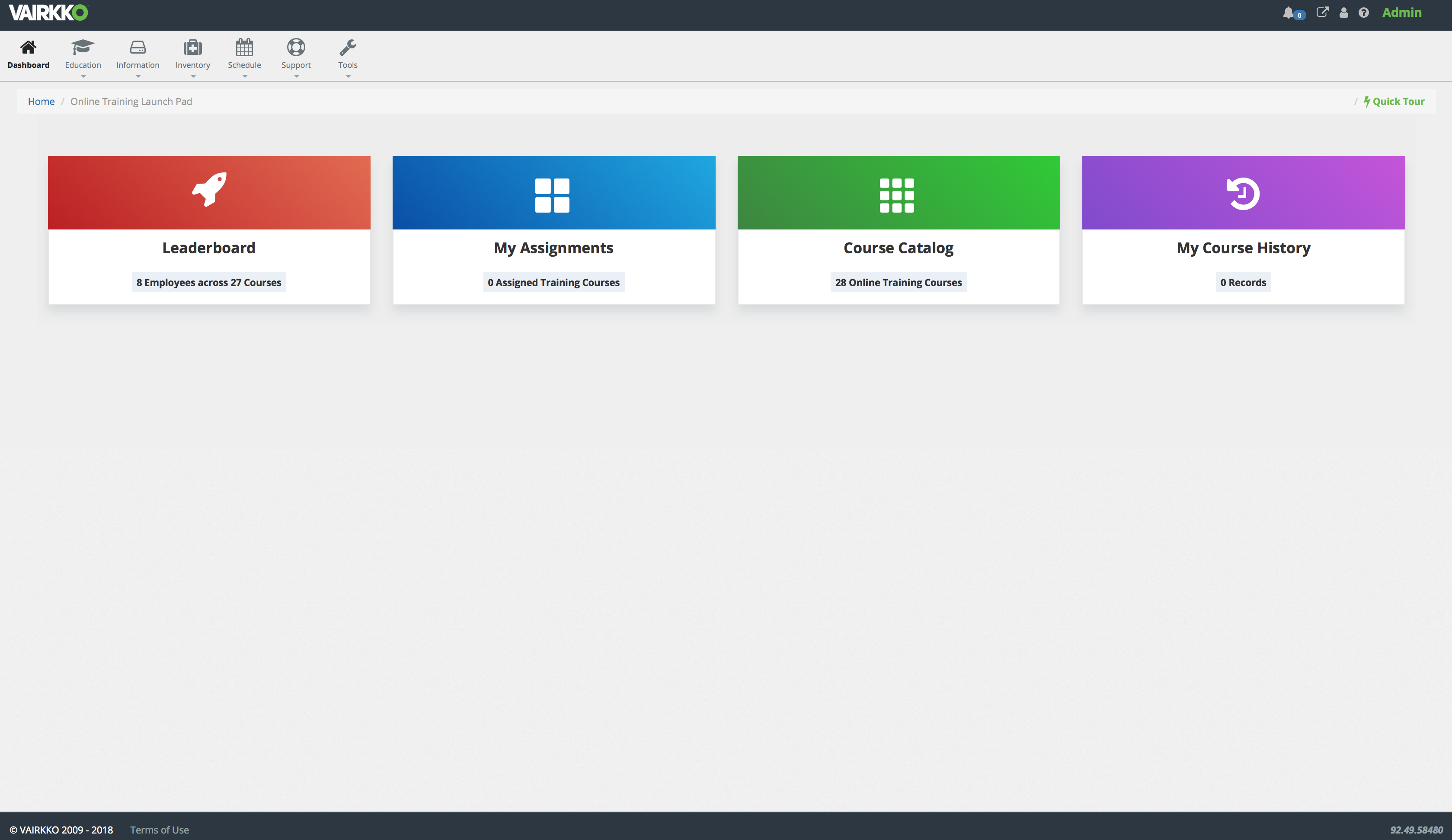 User-side e-Learning control panel for navigating between modules.
